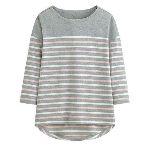 純棉條紋七分袖寬版上衣-女