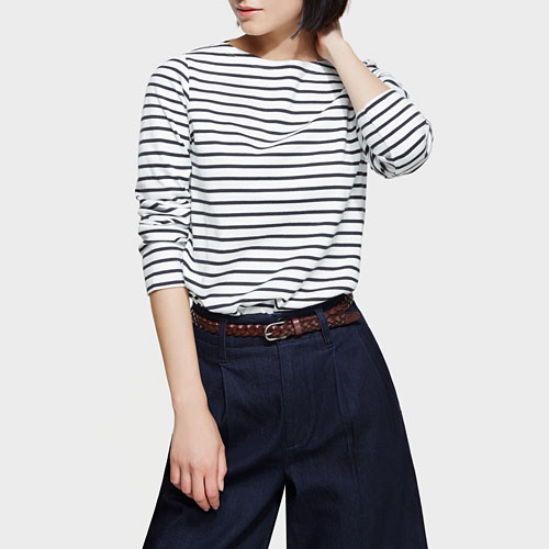 純棉條紋船型領上衣-女