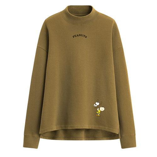 史努比中高領刷毛圓領衫-02-女