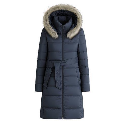 輕型保暖連帽羽絨大衣-女