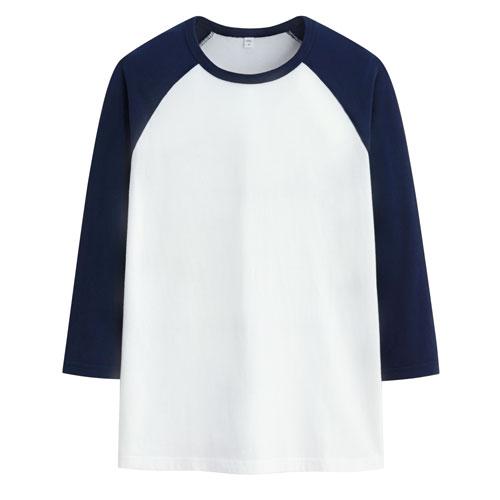 棉質拉克蘭七分袖圓領T恤-男