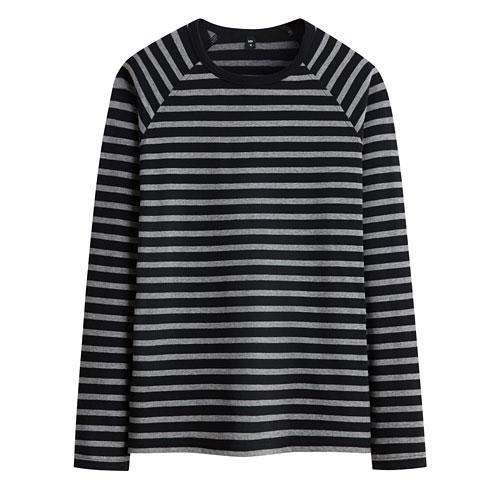 棉質拉克蘭袖條紋T恤-男