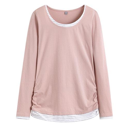 棉質層次長袖T恤-女