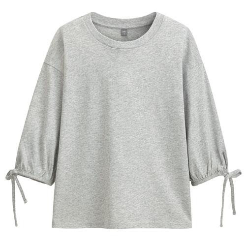 棉質綁帶五分袖圓領衫-女
