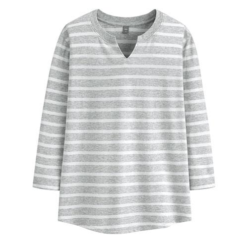 棉質條紋V領八分袖T恤-女