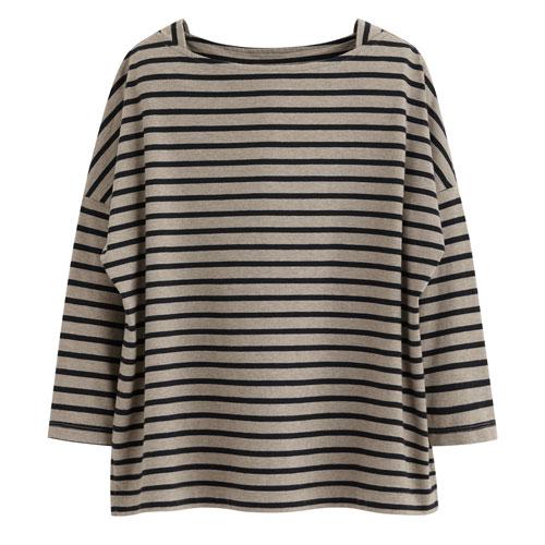 棉質條紋寬版八分袖T恤-女