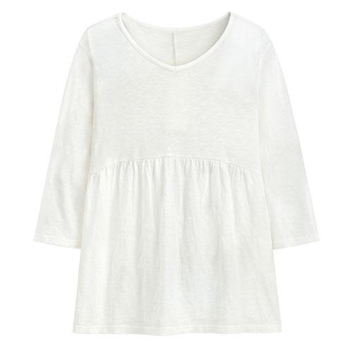 竹節棉寬版V領上衣-女