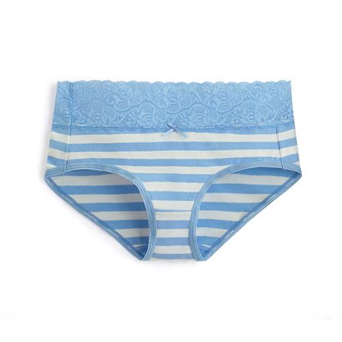 棉質蕾絲條紋低腰內褲-女
