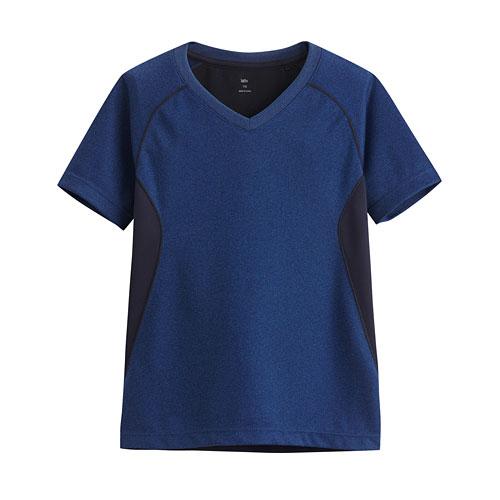 吸排V領短袖T恤-童