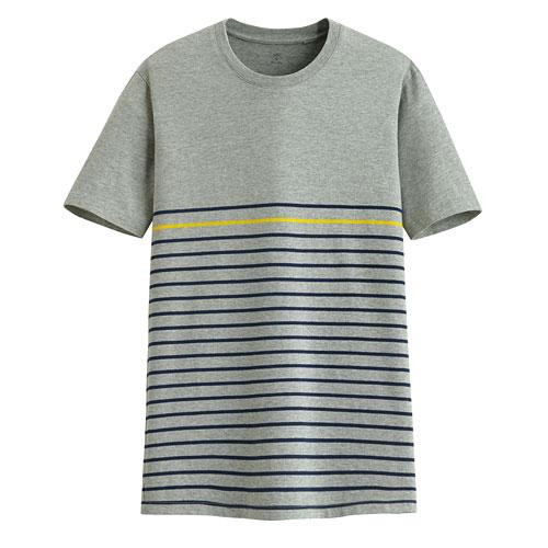 純棉條紋短袖T恤-男