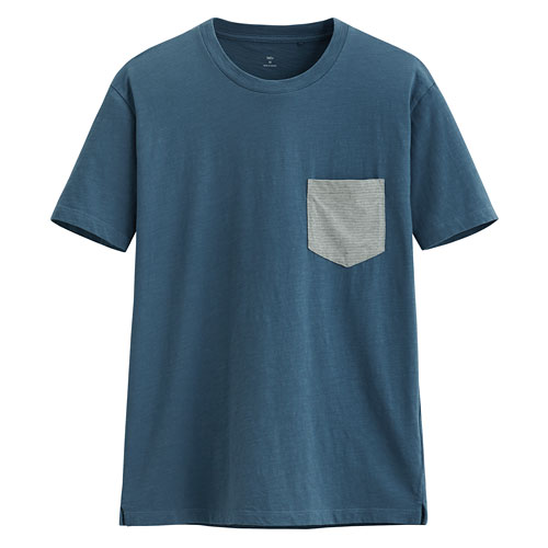 竹節棉口袋短袖T恤-男