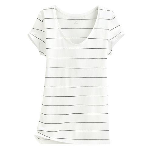 純棉V領條紋短袖T恤-女