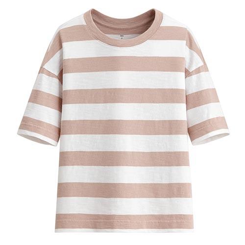 竹節棉條紋寬版圓領T恤-女