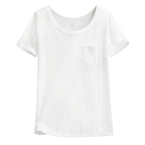 竹節棉口袋短袖T恤-女