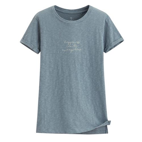 竹節棉文字短袖T恤-女