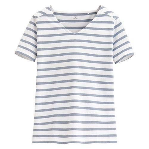 純棉V領條紋T恤-女