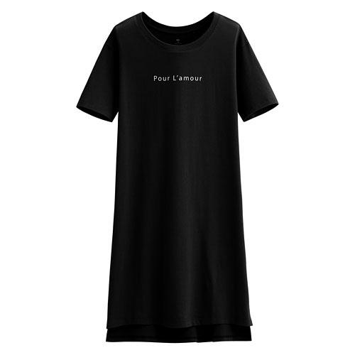 純棉文字寬版洋裝-女