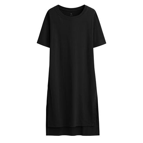 純棉圓領寬版洋裝-女