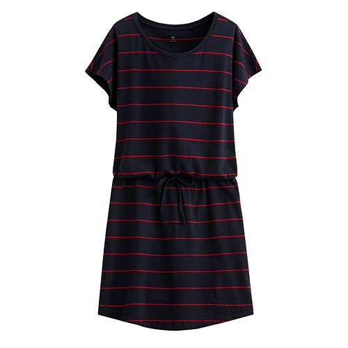 純棉綁帶條紋洋裝-女