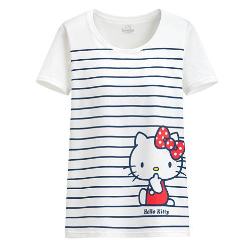 Hello Kitty Bra條紋T恤-女