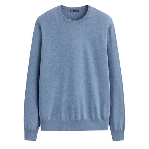 棉混紡圓領針織衫-男
