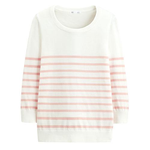Pima 棉抗UV條紋七分袖針織衫-女
