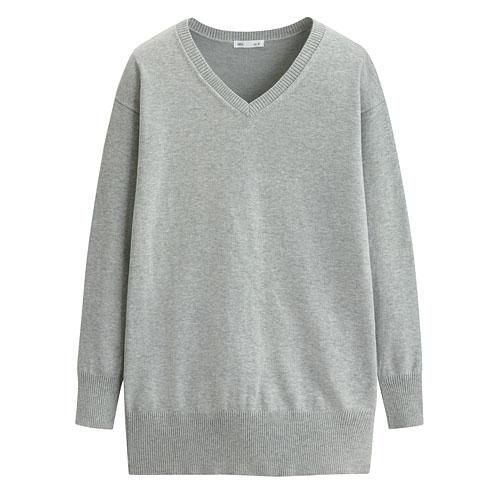 V領長版針織衫-女