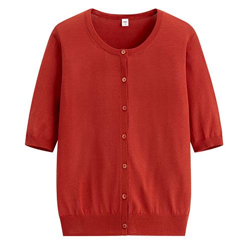 輕型短袖針織外套-女