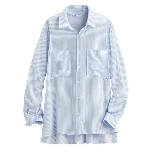 嫘縈條紋雙口袋襯衫-女