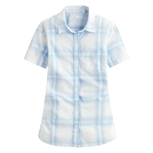 經典格紋短袖襯衫-女