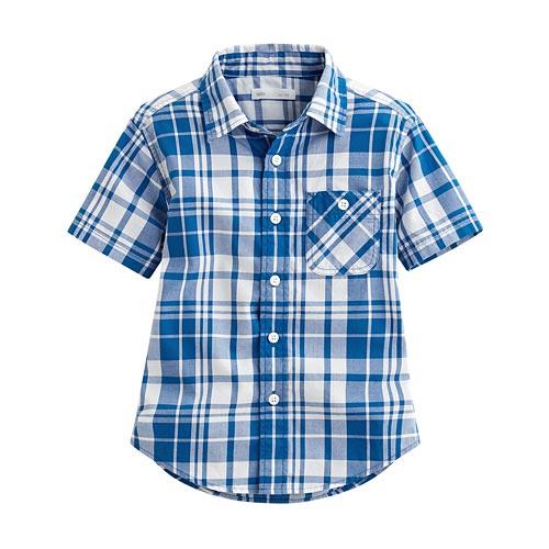 經典格紋短袖襯衫-童