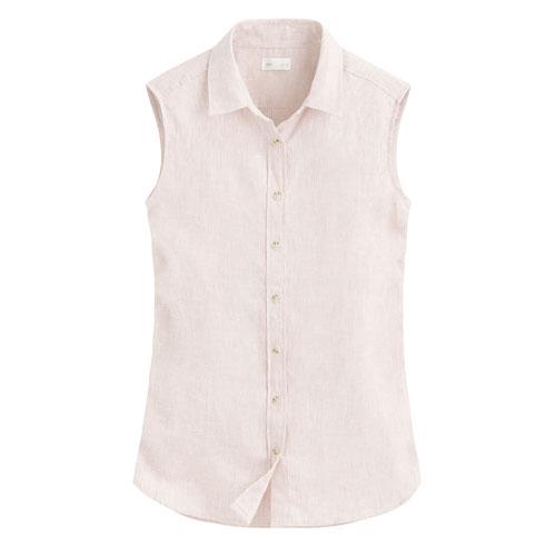 棉麻無袖襯衫-女