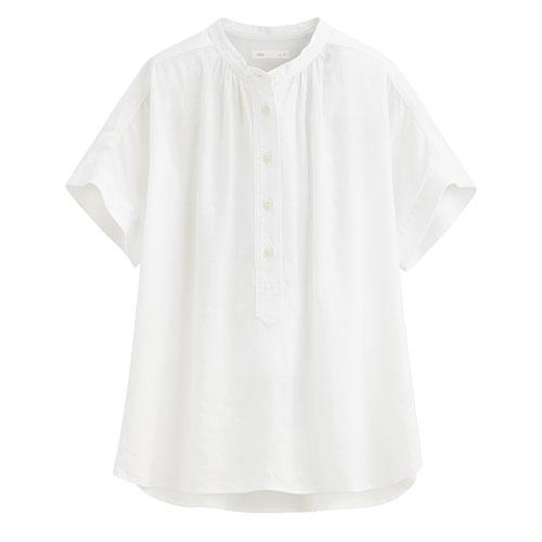 亞麻混紡立領短袖襯衫-女
