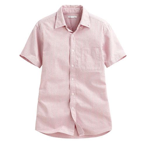 牛津條紋短袖襯衫-男