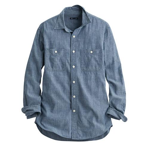 牛仔雙口袋襯衫-男