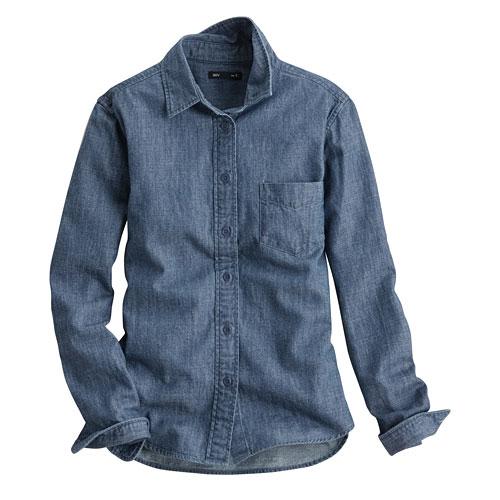 牛仔長袖襯衫-女