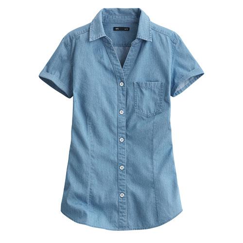 牛仔短袖襯衫-女