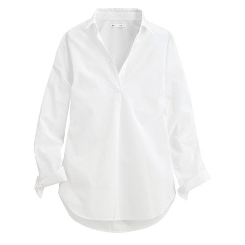 柔棉寬版長袖襯衫-女