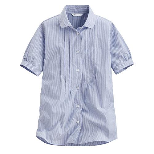 柔棉細褶短袖襯衫-女