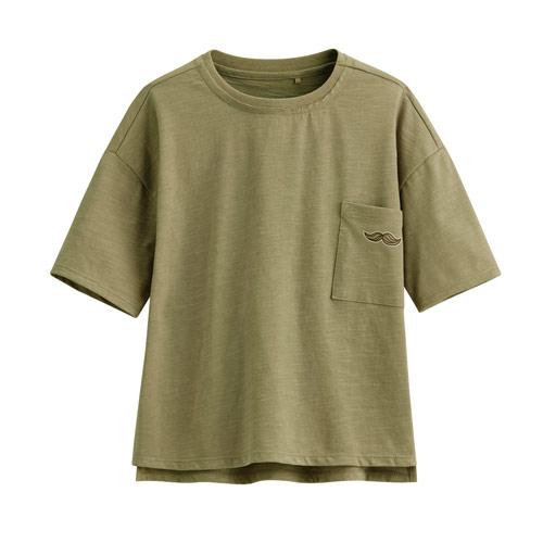 竹節棉口袋寬鬆上衣-童