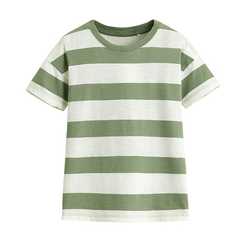 竹節棉條紋寬鬆上衣-童