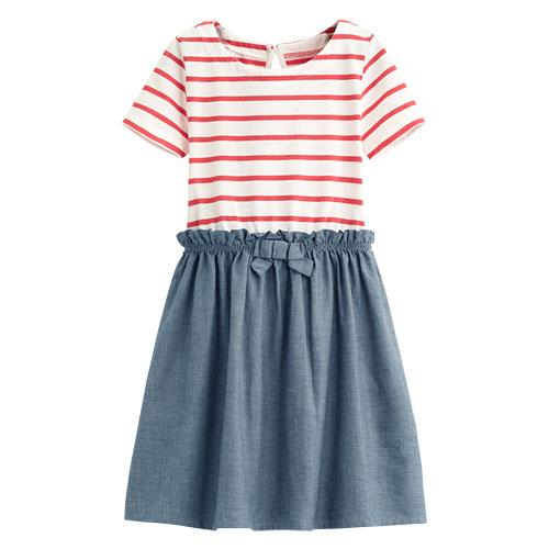 條紋拼接洋裝-童
