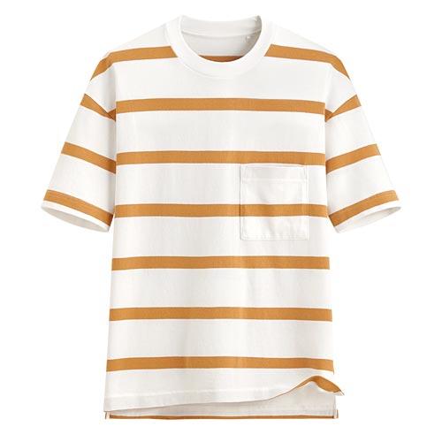 厚紡寬版條紋T恤-男