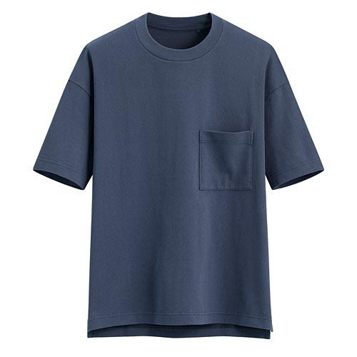 厚紡寬版圓領T恤-男