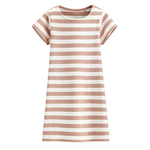 厚紡條紋短袖洋裝-童
