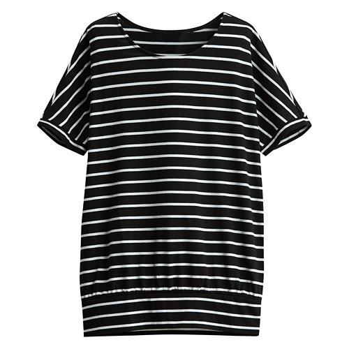 輕柔條紋寬鬆連袖衫-女