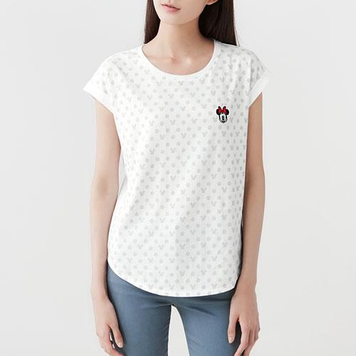 迪士尼系列袖口反折印花T恤-08-女