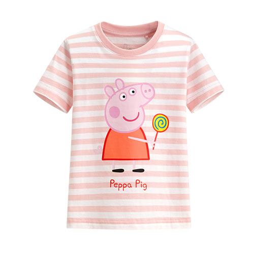 Peppa Pig條紋印花T恤-09-童