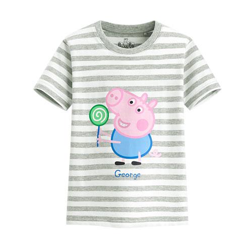 Peppa Pig條紋印花T恤-10-童