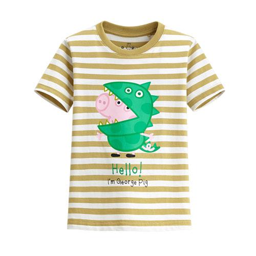 Peppa Pig條紋印花T恤-11-童
